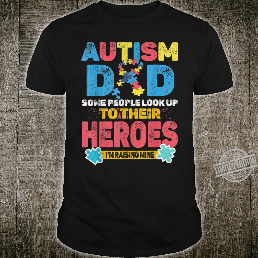 Autism Dad My Son is Hero Puzzle Autism Awareness day Shirt