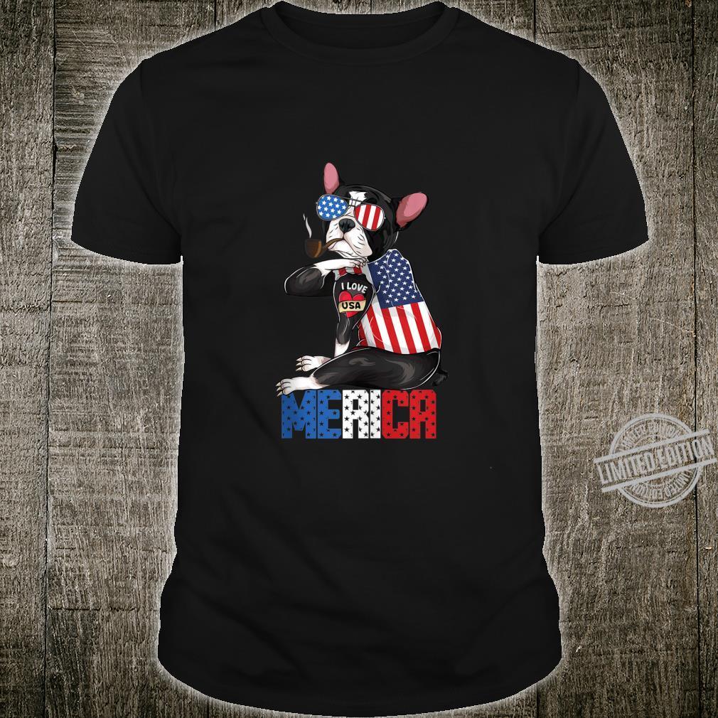 Boston Terrier dog Merica 4th of july usa american flag Shirt