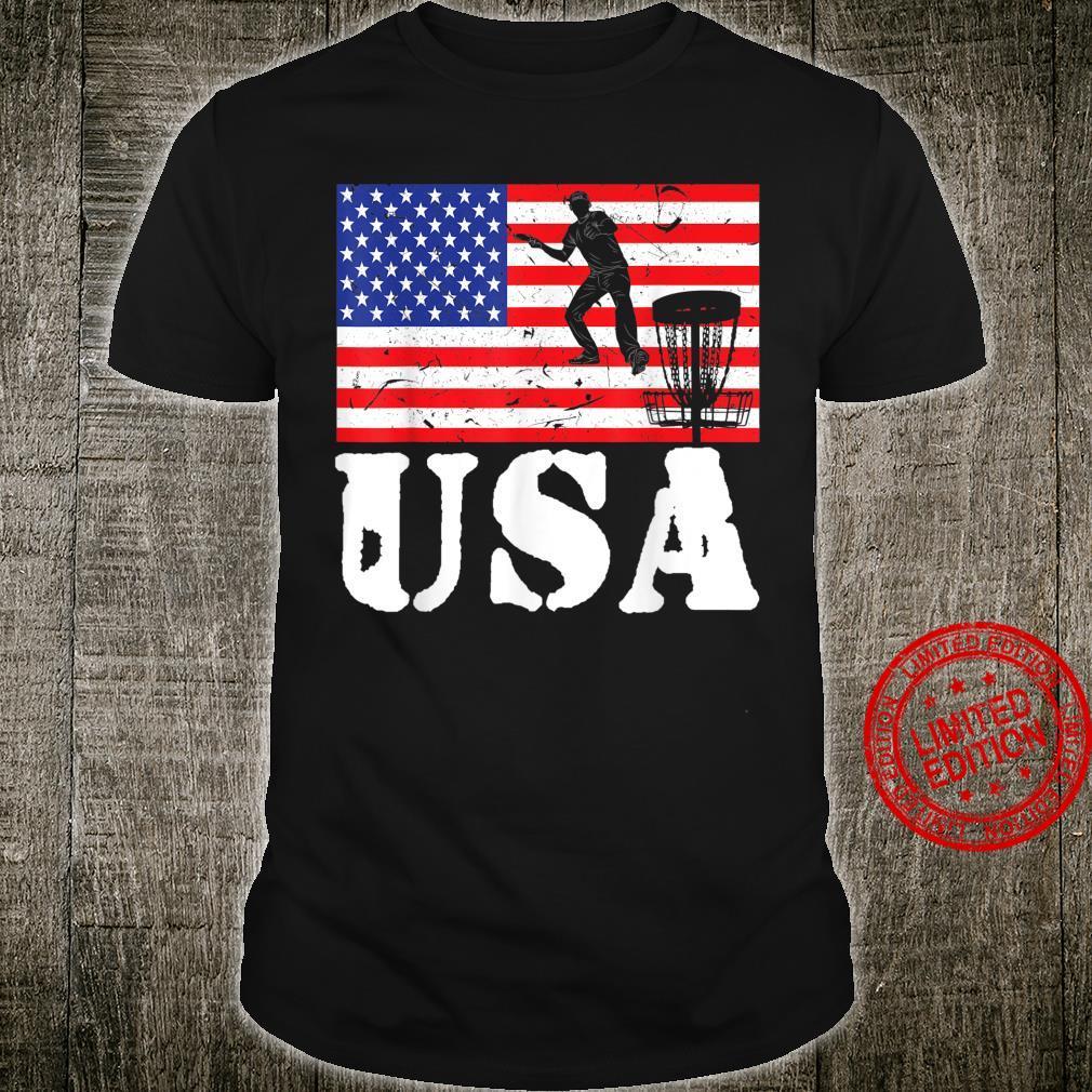 Distressed Disc Golf Player USA American Flag Vintage Tosser Shirt