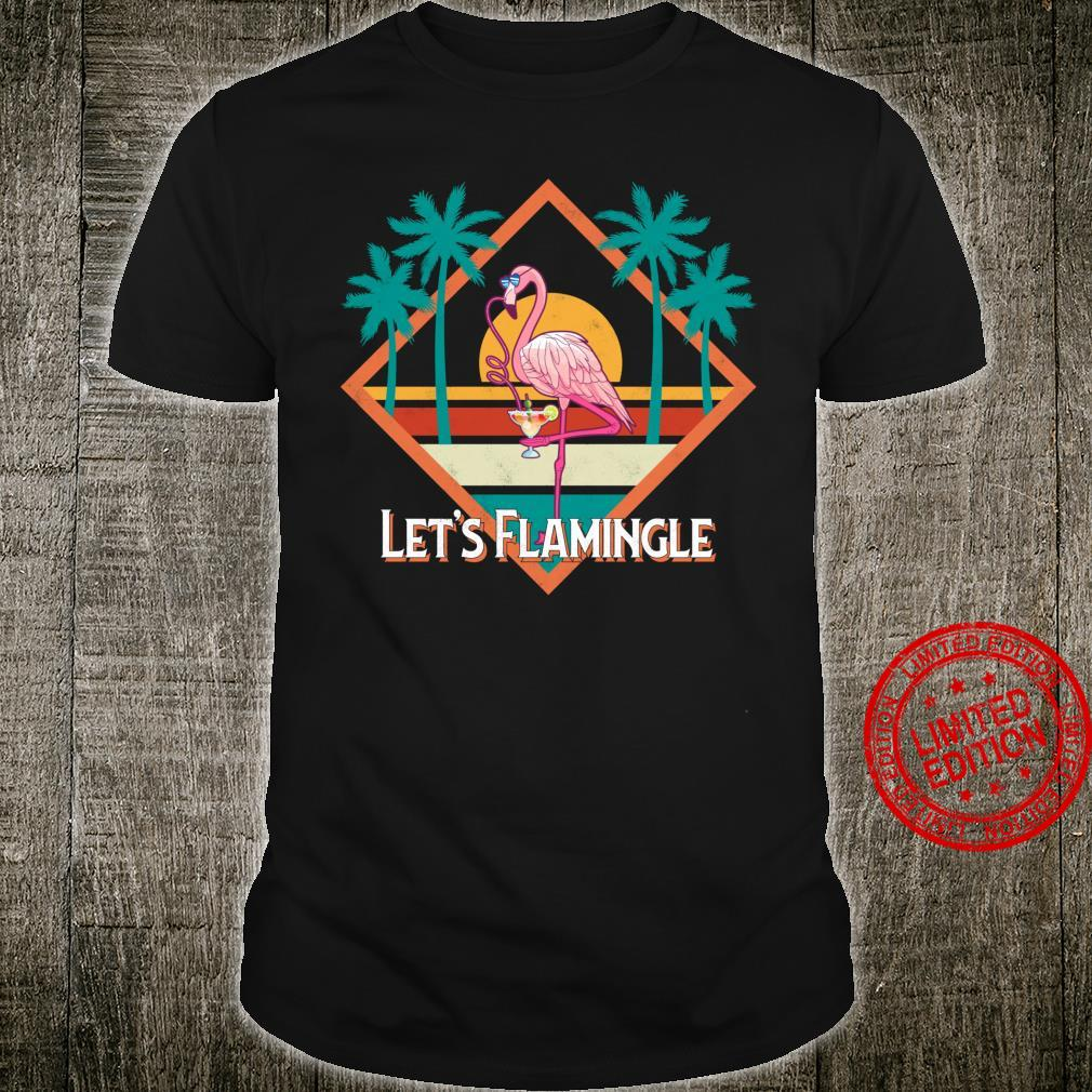 Flamingo Vintage Retro Style Sun Palm Tree Let's Flamingle Shirt