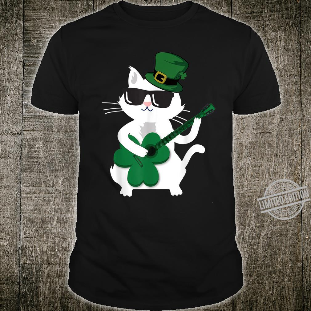 Funny Cat Playing Shamrock Guitar st Patricks Day Shirt