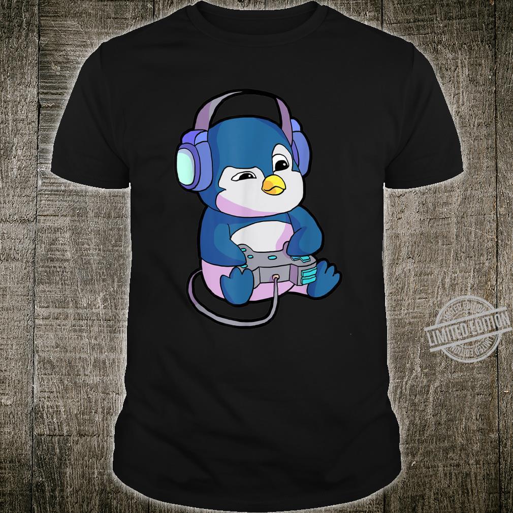 Gamer Shirt Herren Jungs Lustiges Gaming Geschenk Pinguin Shirt