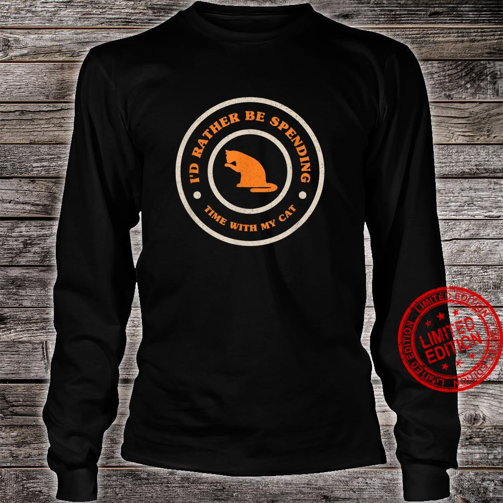 I'd Rather Be Spending Time With My Cat Retro Cat Shirt long sleeved
