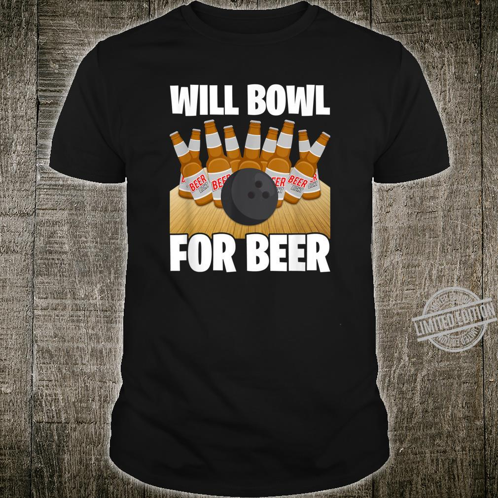 Mens Will Bowl For Beer Bowling Shirt