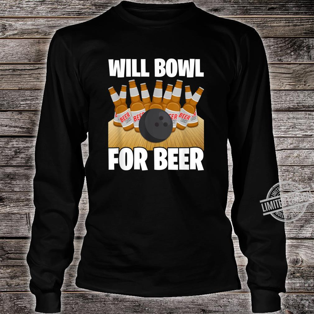 Mens Will Bowl For Beer Bowling Shirt long sleeved
