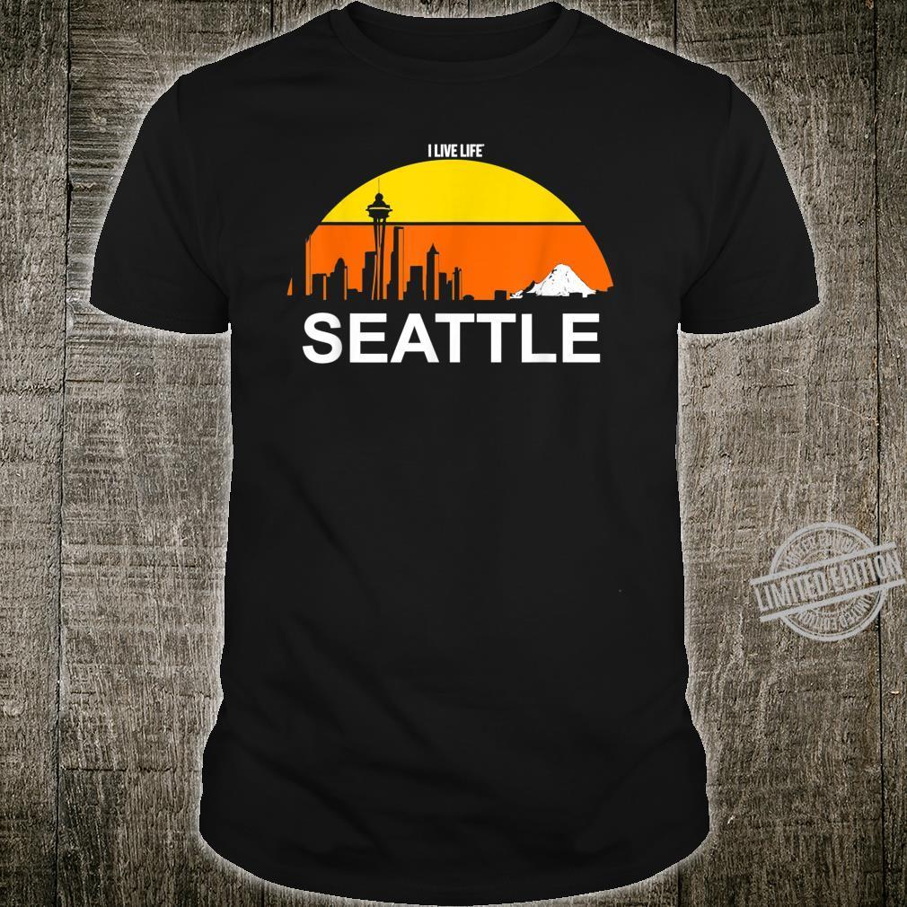 Seattle Washington Cityscape Retro Mountains 80's Shirt