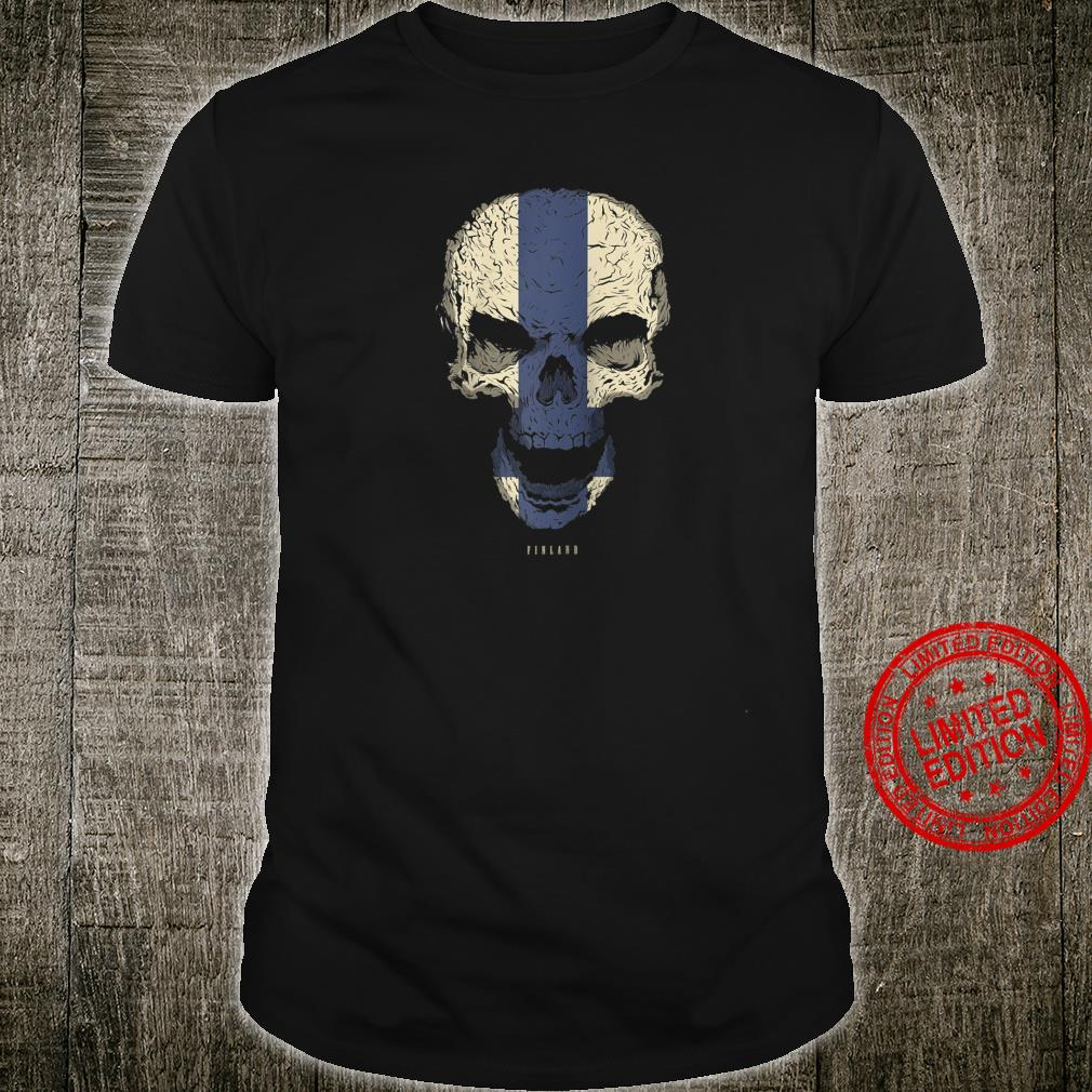 Skull with Finland Flag Skeleton Finnish Roots Shirt