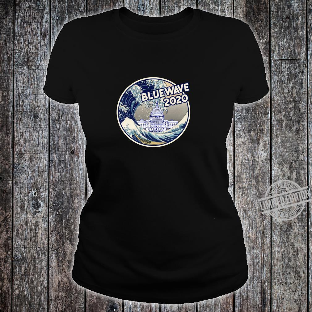 Vote Blue Wave 2020 The Great Wave Over the White House Shirt ladies tee