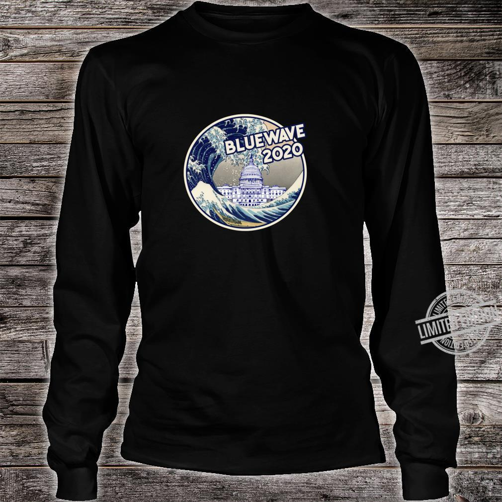 Vote Blue Wave 2020 The Great Wave Over the White House Shirt long sleeved