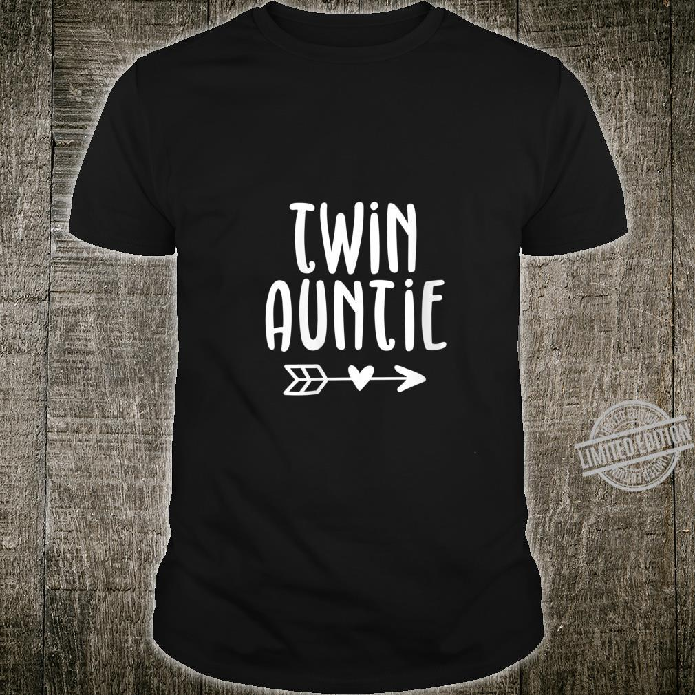 Womens Cute Aunt of Twins Twin Auntie Pregnancy Announcement Shirt