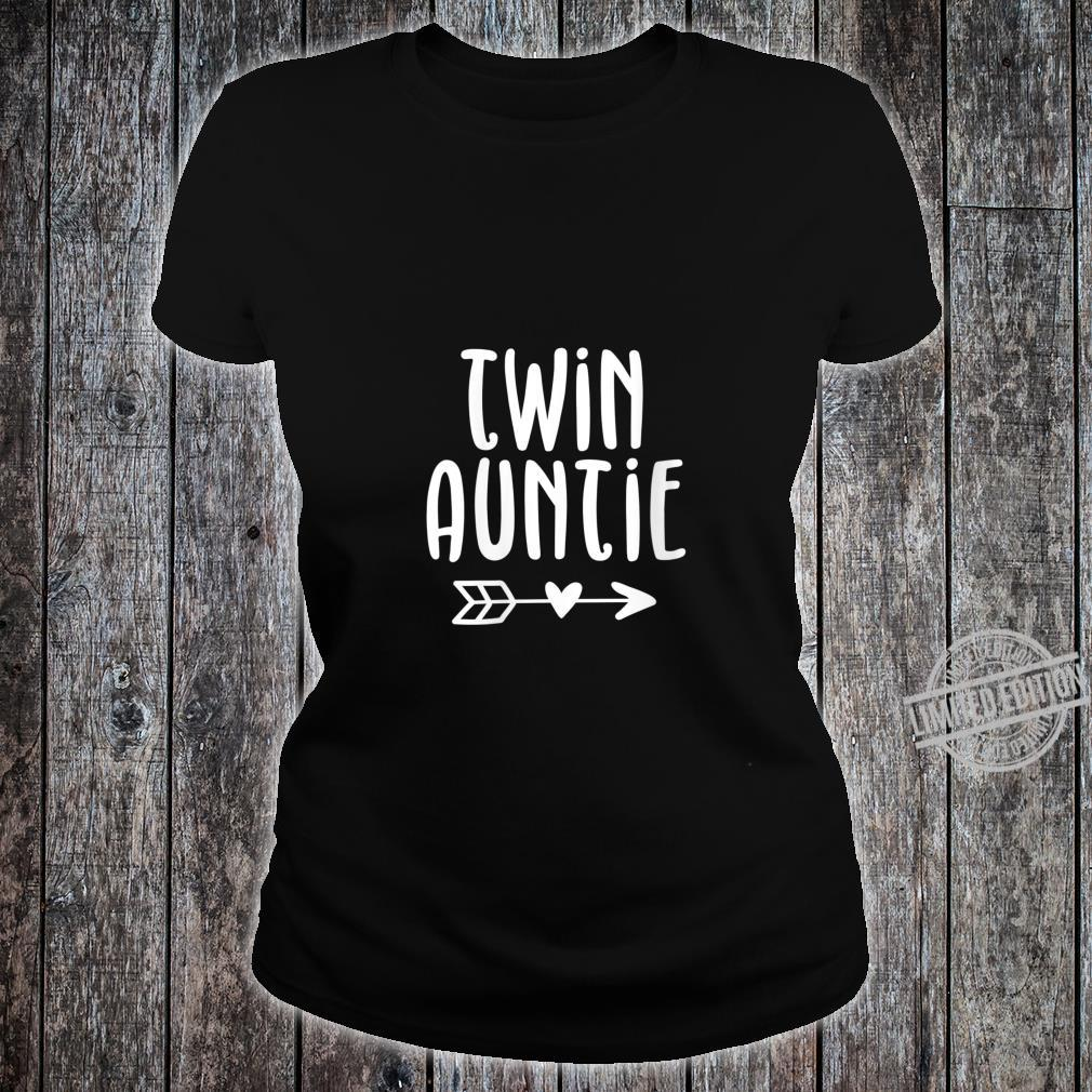 Womens Cute Aunt of Twins Twin Auntie Pregnancy Announcement Shirt ladies tee